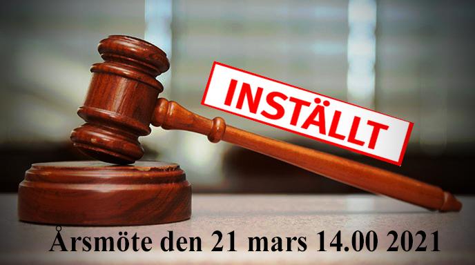 Inställt: Årsmöte 21 mars 14.00   2021